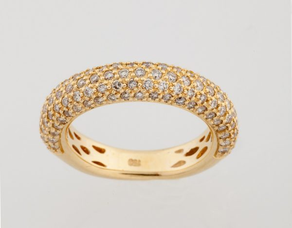 Gold ring K18 with diamonds, brilliant cut