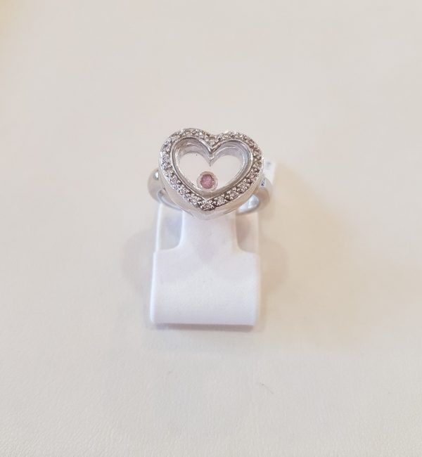 White gold heart ring with diamonds