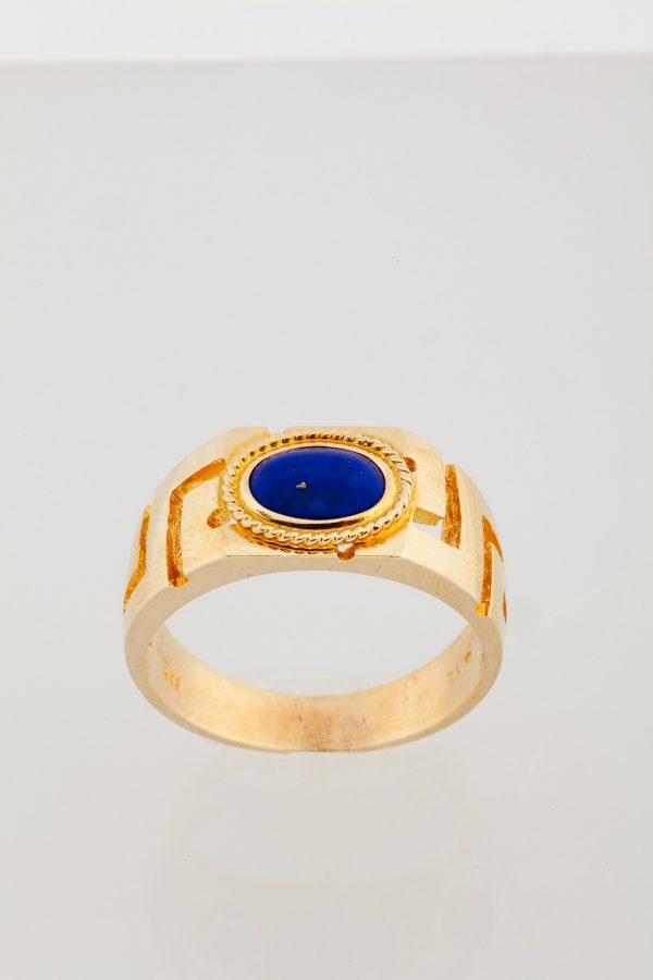 Gold ring K14 with the greek design and a lapis lazuli