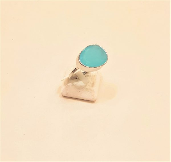 Silver ring with aqua marine