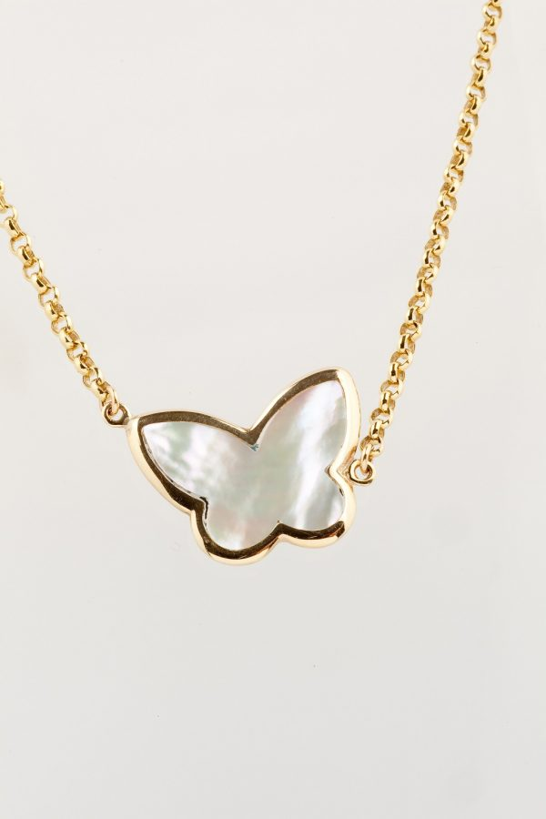 Gold necklace K14 with mother of pearl butterfly
