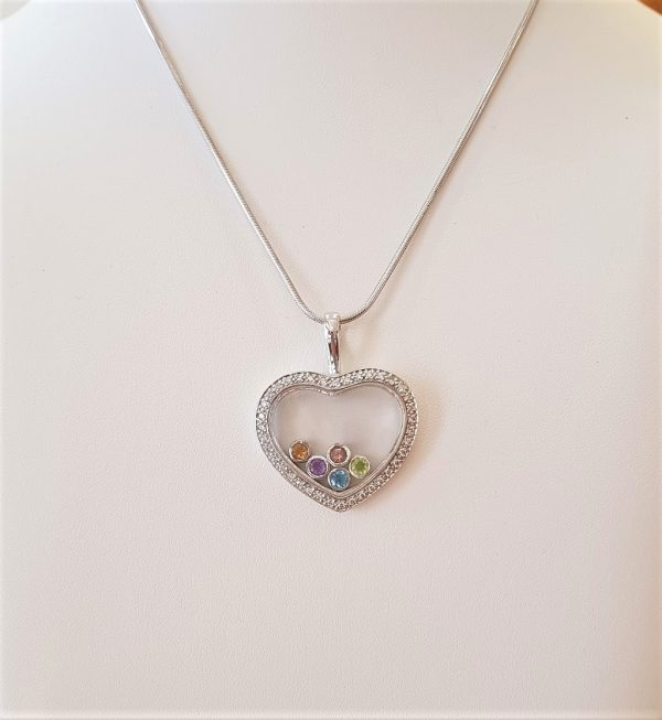 Whitegold heart pendant with diamonds and precious stones