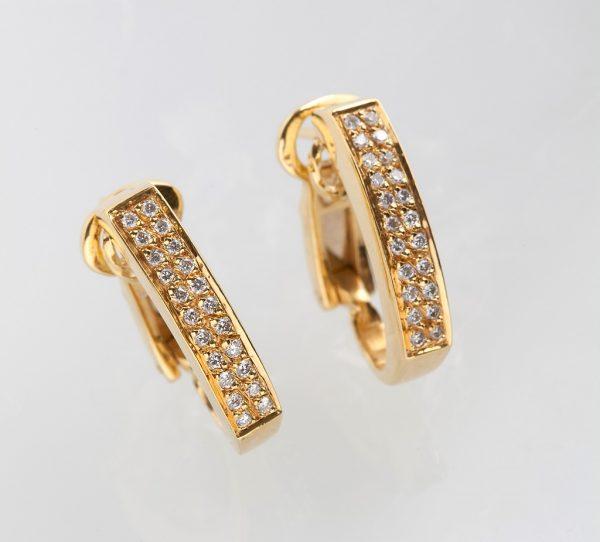 Gold earrings K18 with diamonds, brilliant cut