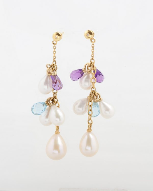 Gold earrings K18 with diamonds, brilliant cut,fresh water pearls,amethysts and blue topaz