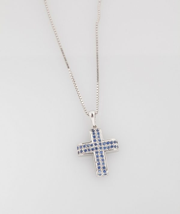 White gold cross K18 with sapphires