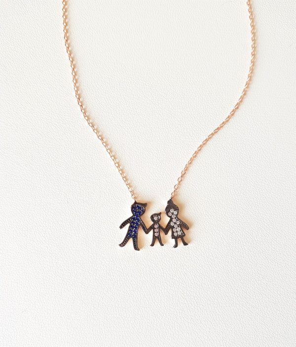 Silver necklace with a family (boy)