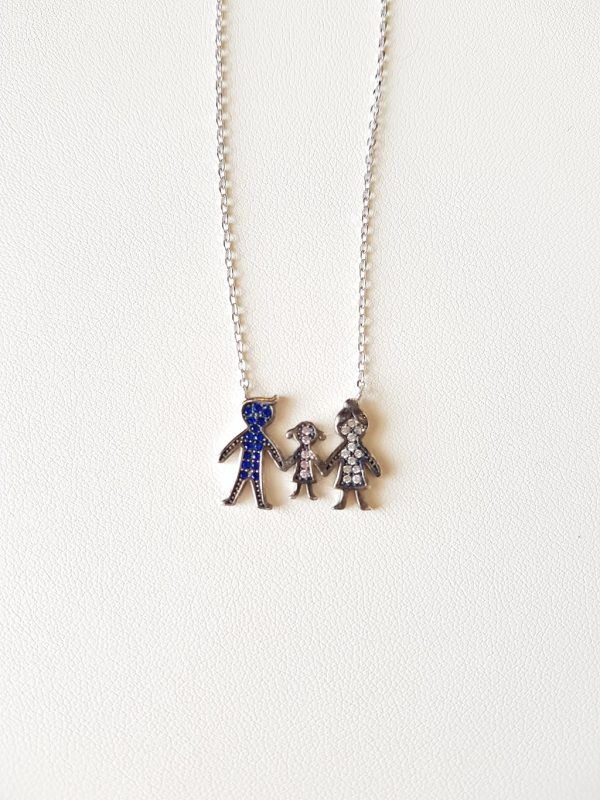 Silver necklace with a family (girl)