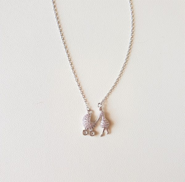 Necklace with a mother and a baby's stroller