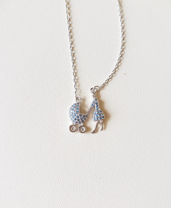 Necklace with a mother and a baby's stroller (boy)
