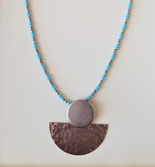 Handmade necklace with light blue crystals