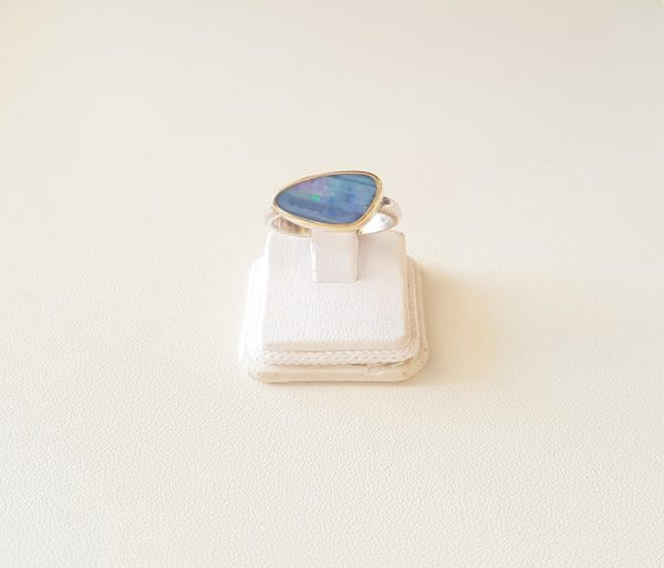 Gold and silver ring with opal