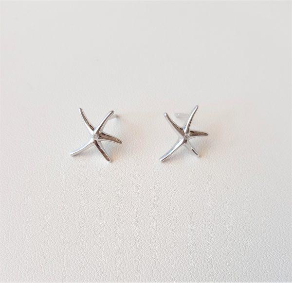 White gold starfish earrings